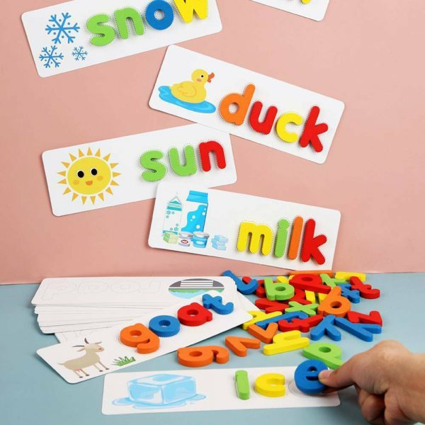 Wooden English Spelling Toy Cardboard Alphabet Game Early Education Kid toys